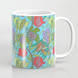 Seven Species Botanical Fruit and Grain with Aqua Background Coffee Mug