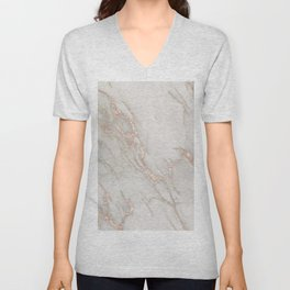Marble Rose Gold Blush Pink Metallic by Nature Magick Unisex V-Neck