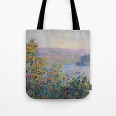 Flower Beds at Vetheuil by Claude Monet Tote Bag