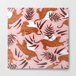 Vibrant Wilderness / Tigers on Pink Metal Print