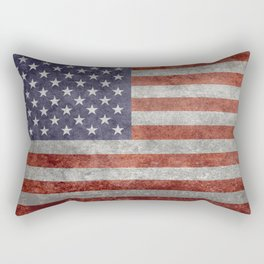 Flag of the United States of America in Retro Grunge Rectangular Pillow