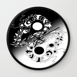 Twin Infinity Dragons Wall Clock