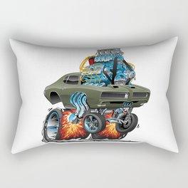 Classic American Muscle Car Hot Rod Cartoon Vector Illustration Rectangular Pillow