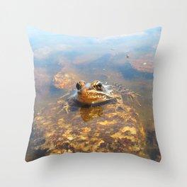 Watercolor Frog, Pickerel Frog 03, Kejimkujik, Nova Scotia, Canada, I See You Throw Pillow