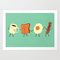 colour Art Prints featuring Let's All Go And Have Breakfast by Teo Zirinis