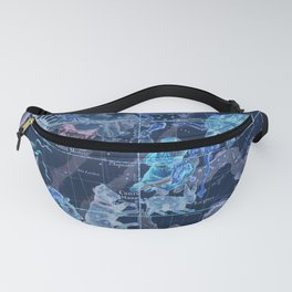 Star Atlas Vintage Constellation Map Pardies Plate 5 negative blue inverted Fanny Pack