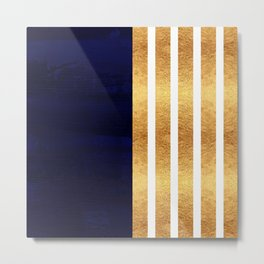 Navy Blue Gold Striped Pattern Elegant Decor Rich Colors Metal Print