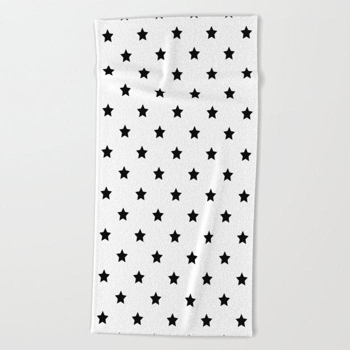 Black and white Star Pattern Beach Towel