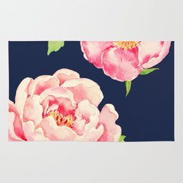 Two Pink Peonies on Navy Rug