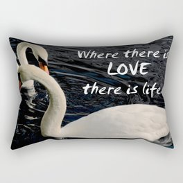 Swans on Lake Rectangular Pillow