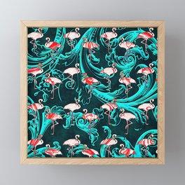 Flamingos Baroque Flourish Pattern Pink Blue Framed Mini Art Print