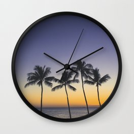 Palm Trees w/ Ombre Tropical Sunset - Hawaii Wall Clock