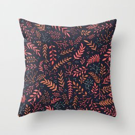 Midnight Meadow Botanical Pattern Throw Pillow