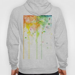Watercolor Rainbow Splatters Abstract Texture Hoody