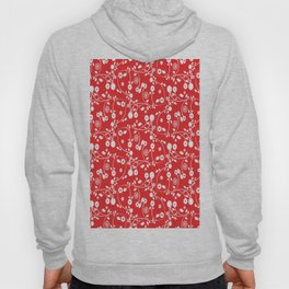 Red Floral Pattern Hoody