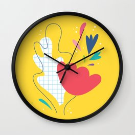 Abstract flower and leaves bouquet Wall Clock