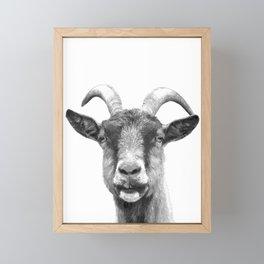 Black and White Goat Framed Mini Art Print