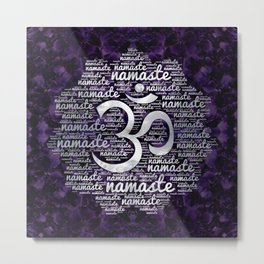 Pearl Namaste Word Art in Lotus with OM symbol on amethyst Metal Print