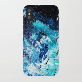 Under the sea | modern abstract hand painted blue turquoise acrylic painting iPhone Case