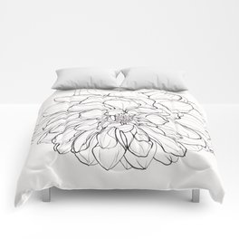 Ink Illustration of a Dahlia Comforters