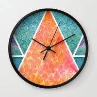 ale giorgini Wall Clocks featuring Pyramids of Giza by Pom Graphic Design
