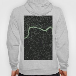 London Black on Green Street Map Hoody