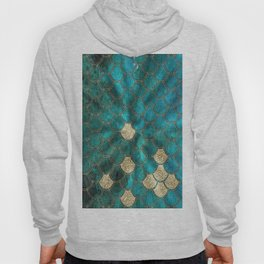 Multicolor Aqua And Gold Mermaid Scales -  Beautiful Abstract Pattern Hoody