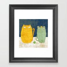 Cat-mouse friendship Framed Art Print