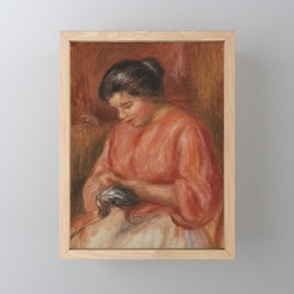 Girl Darning Framed Mini Art Print