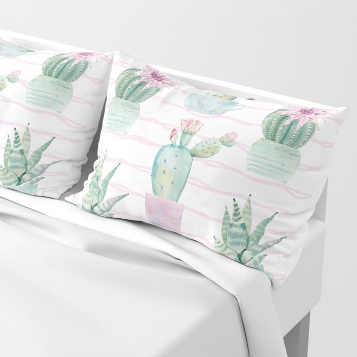 Cute Potted Cacti Stripe Pattern Pillow Sham