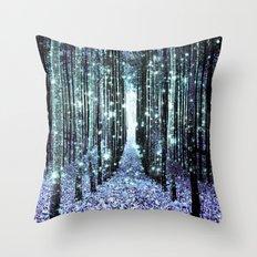 Magical Forest Lavender Aqua/Teal Throw Pillow