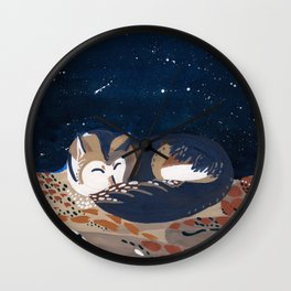 Sleeping Desert Wolf Wall Clock