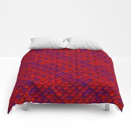 Red Purple Scales Comforters
