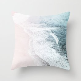 Vintage Faded ocean waves Throw Pillow