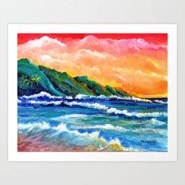 Romantic Kauai Sunset Art Print