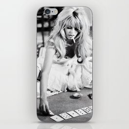 Brigitte Bardot Playing Cards, Black and White Photograph iPhone Skin