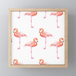 Flamingos watercolor pattern Framed Mini Art Print