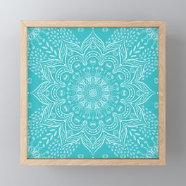 Teal mandala Framed Mini Art Print