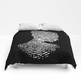 Fingerprint Silhouette Portrait Comforters