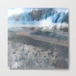 Yellowstone Winter Fog Metal Print