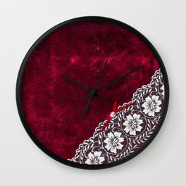 Elegant white Vintage Lace with pearl and ribbon on dark red grunge backround Wall Clock
