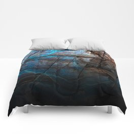 Deep Blue Marble - Ombre black Comforters