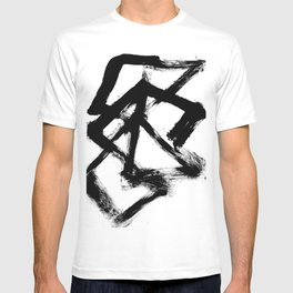 Brushstroke 5 - a simple black and white ink design T-shirt