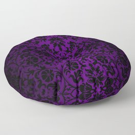 Purple and Black Damask Pattern Design Floor Pillow