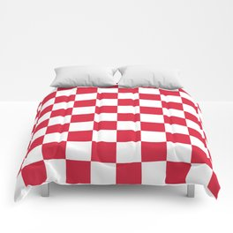 Red, Cherry: Checkered Pattern Comforters