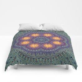 8 Suns Circular Bohemian Geometric Thread Weave Pattern \\ Yellow Green Blue Purple Color Scheme Comforters