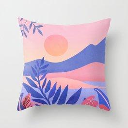 Hawaiian Sunset / Tropical Landscape Throw Pillow