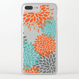 Floral Pattern, Abstract, Orange, Teal and Gray Clear iPhone Case