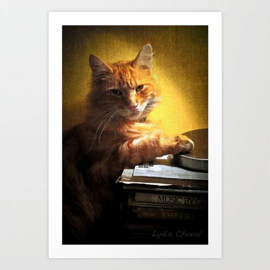 A romantic cat Art Print
