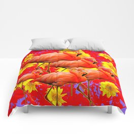 YELLOW FLOWERS & 5 RED  SAFFRON FLAMINGOS ART Comforters